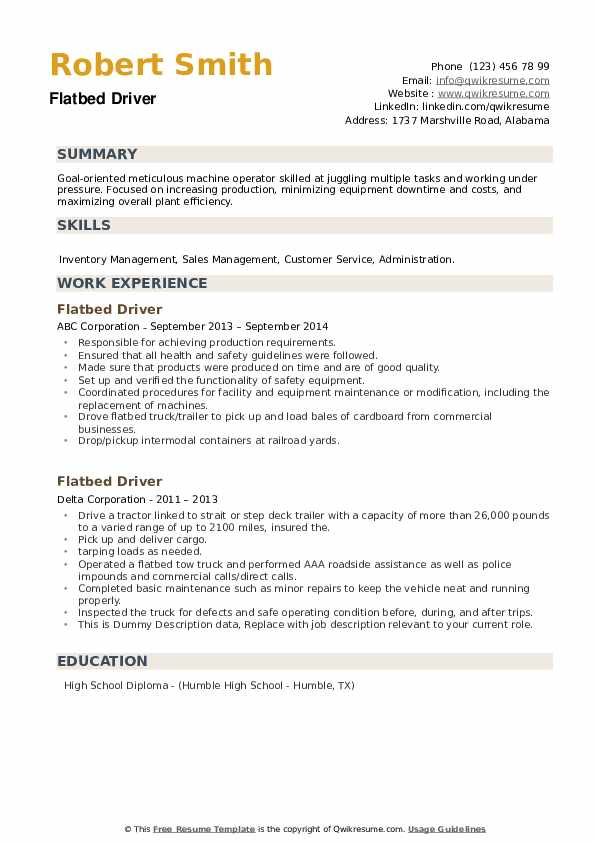 Flatbed Driver Resume example