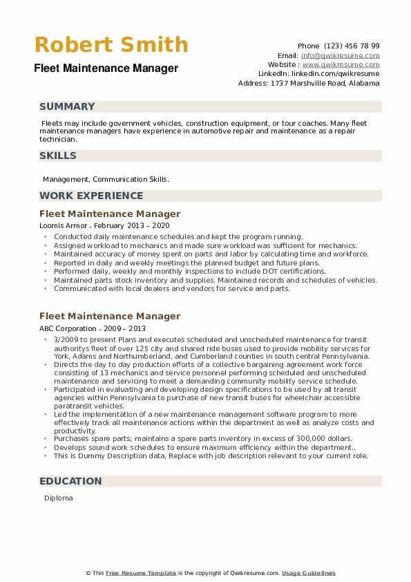 Fleet Maintenance Manager Resume example