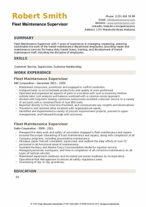 Fleet Maintenance Supervisor Resume example