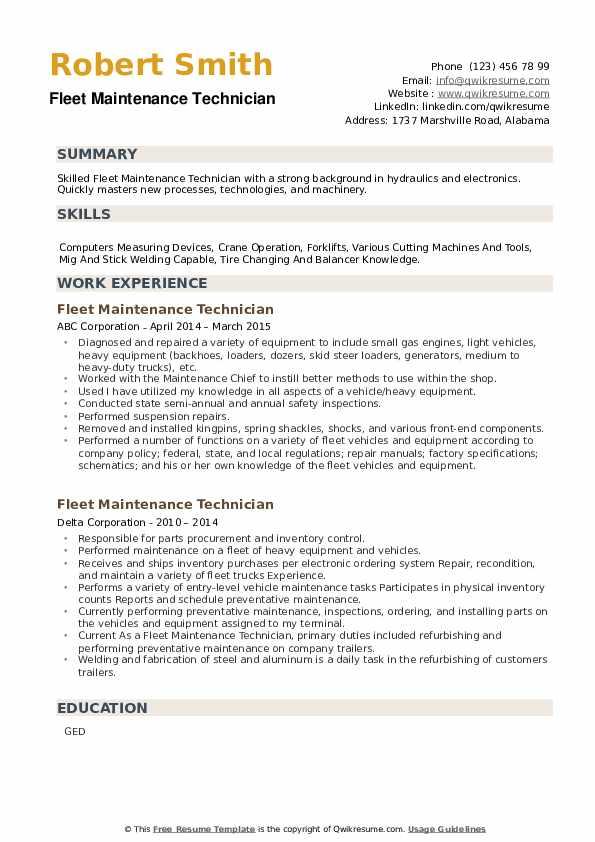 Fleet Maintenance Technician Resume example