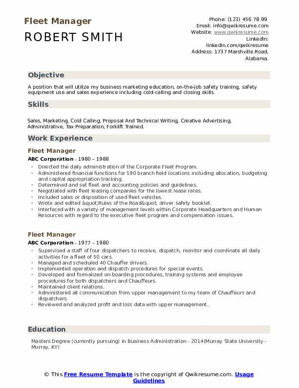 fleet manager resume samples
