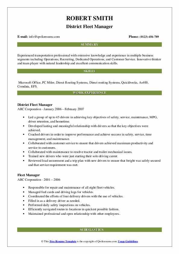 District Fleet Manager Resume Example