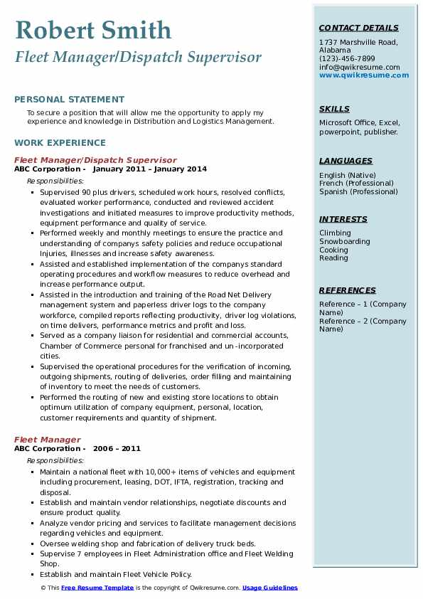 Fleet Manager/Dispatch Supervisor Resume Example
