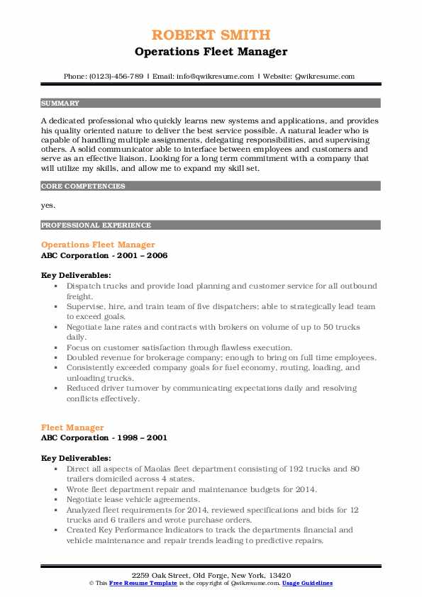 Operations Fleet Manager Resume Format
