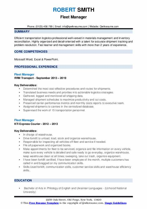 Fleet Manager Resume example