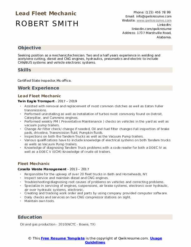 Lead Fleet Mechanic Resume Template