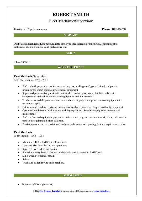 Fleet Mechanic/Supervisor Resume Format
