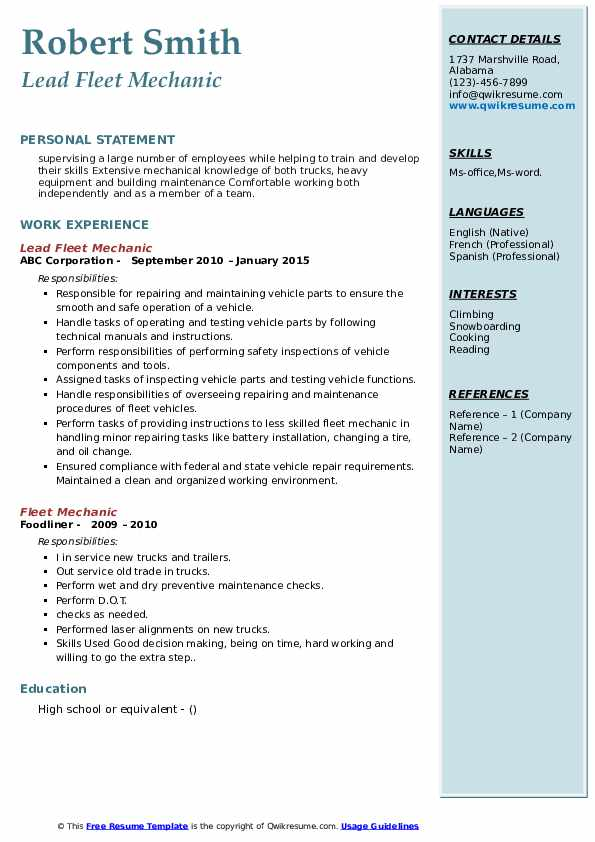 Lead Fleet Mechanic Resume Sample