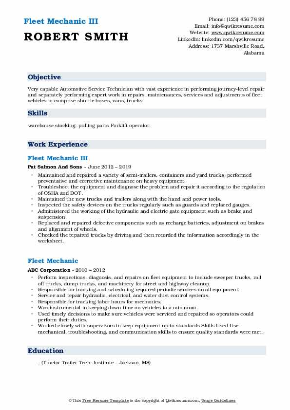 Fleet Mechanic III Resume Template