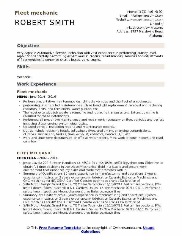 Fleet mechanic Resume Format
