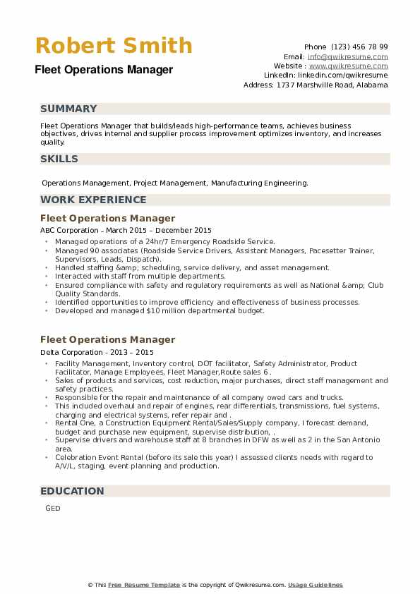 Fleet Operations Manager Resume example