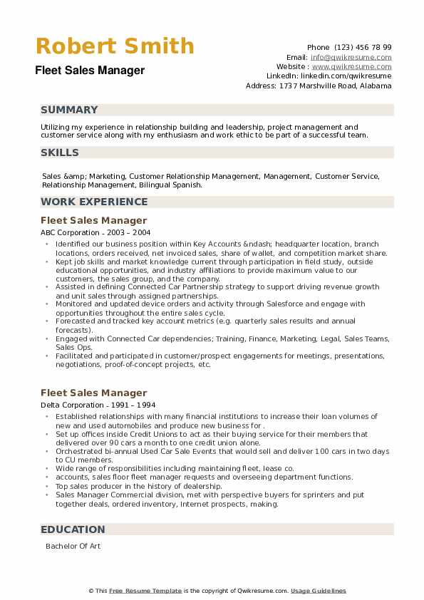 Fleet Sales Manager Resume example