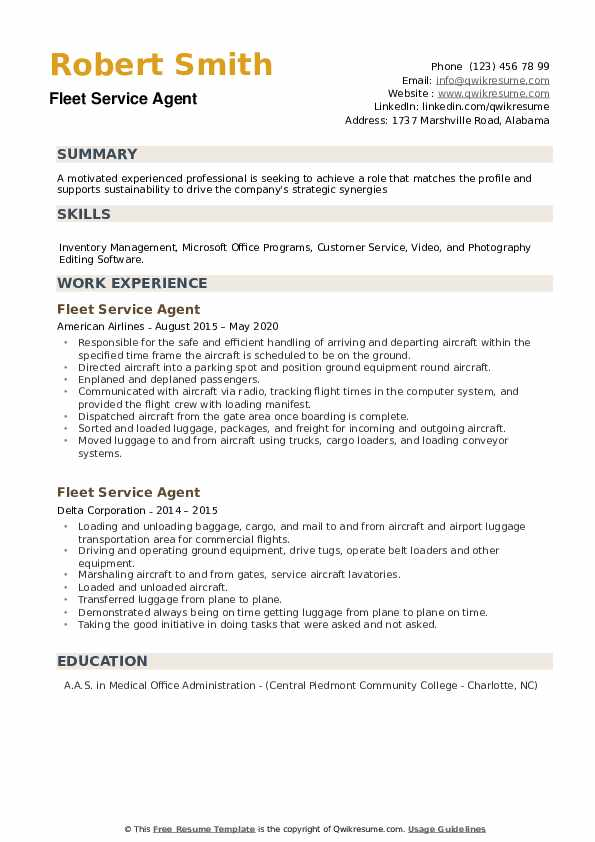 Fleet Service Agent Resume example