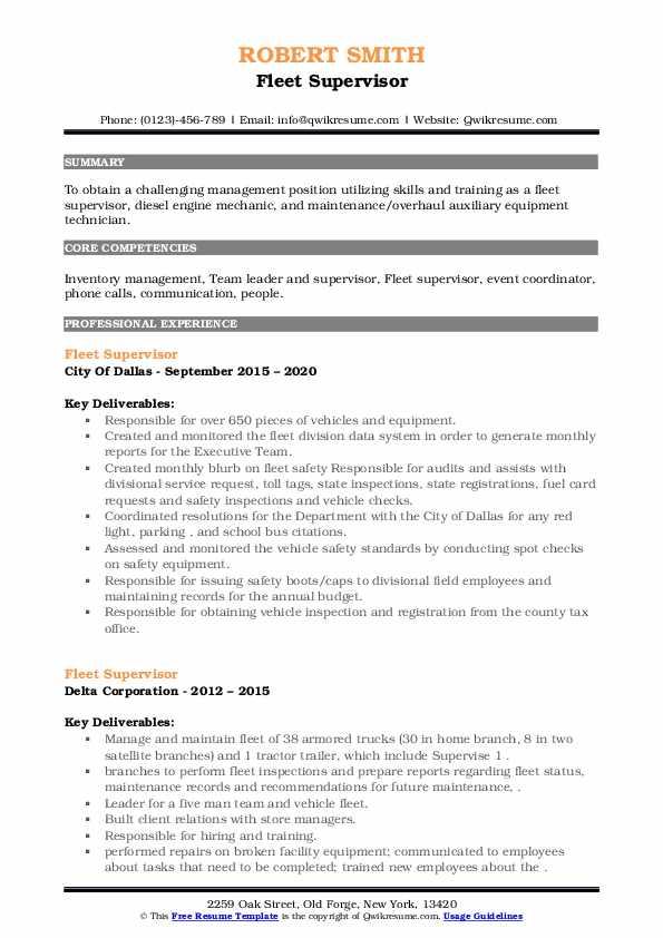 Fleet Supervisor Resume example