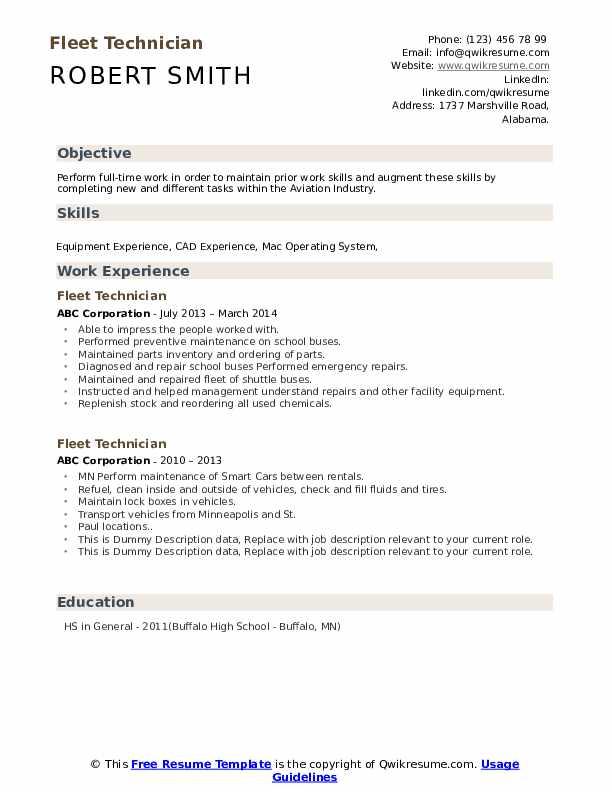 Fleet Technician Resume example