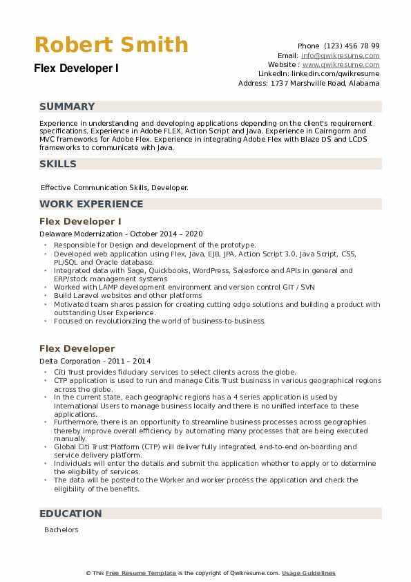 Flex Developer Resume example