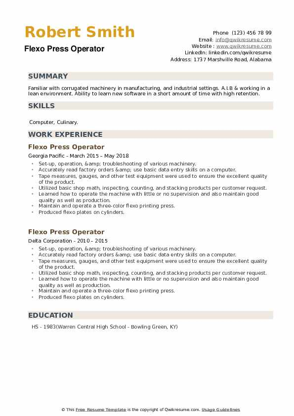 Flexo Press Operator Resume example