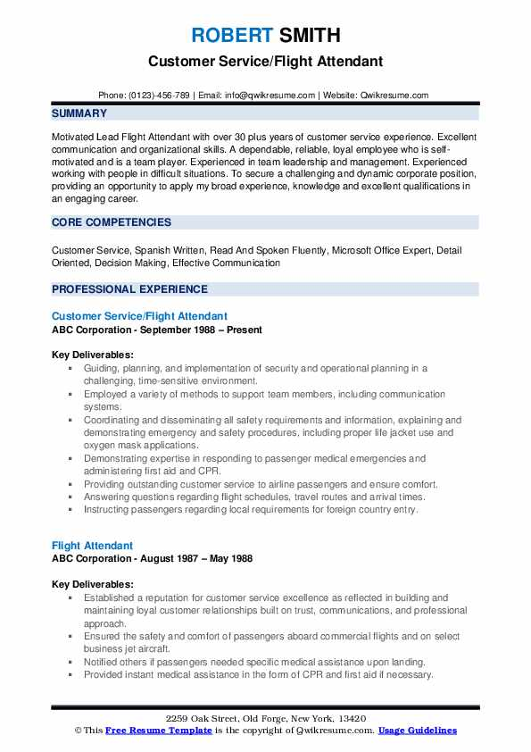 Customer Service/Flight Attendant Resume Example