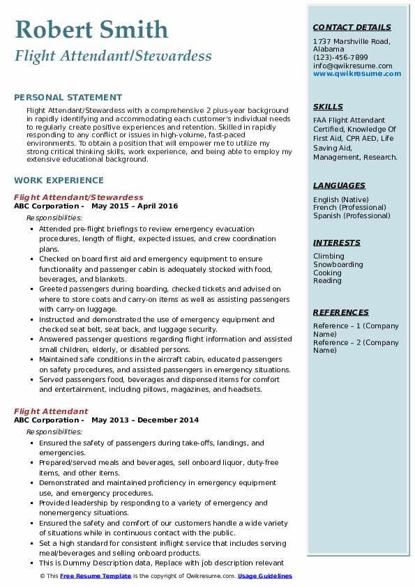 Flight Attendant/Stewardess  Resume Example