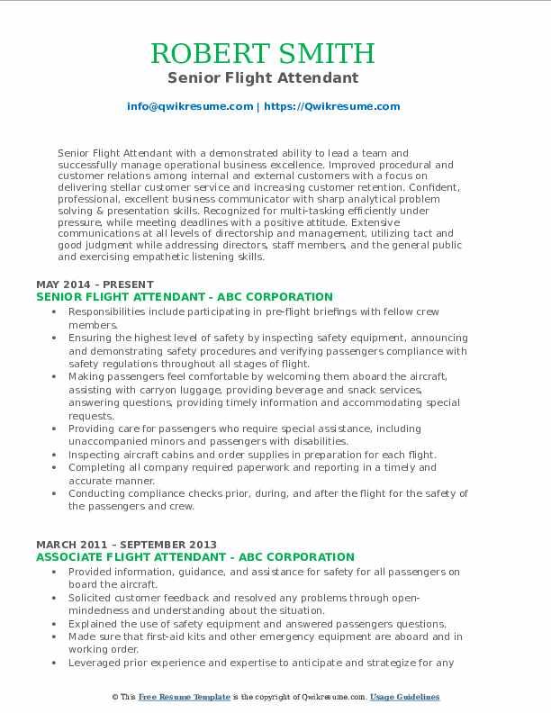 Senior Flight Attendant Resume Format