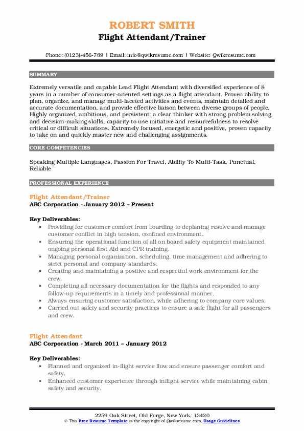 Flight Attendant/Trainer Resume Format