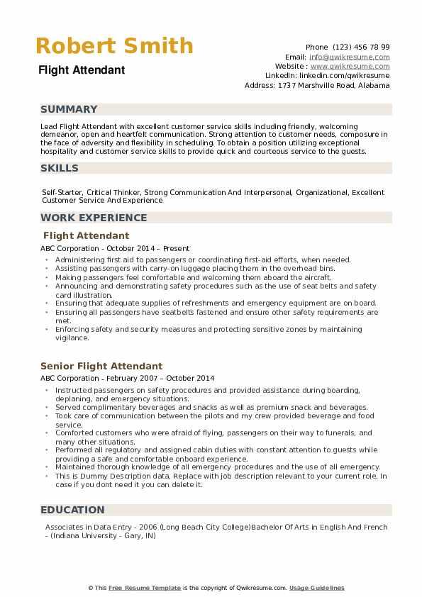 Flight Attendant Resume Samples Qwikresume