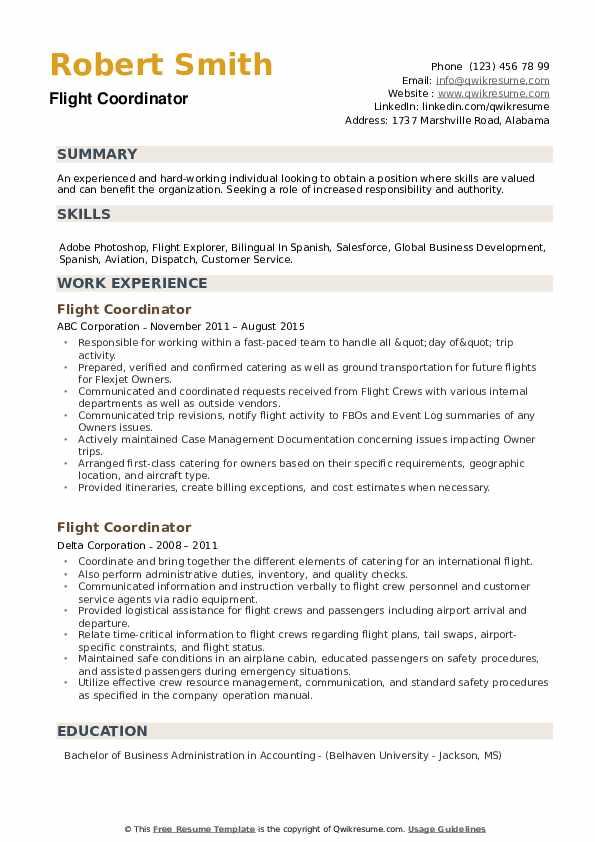Flight Coordinator Resume example