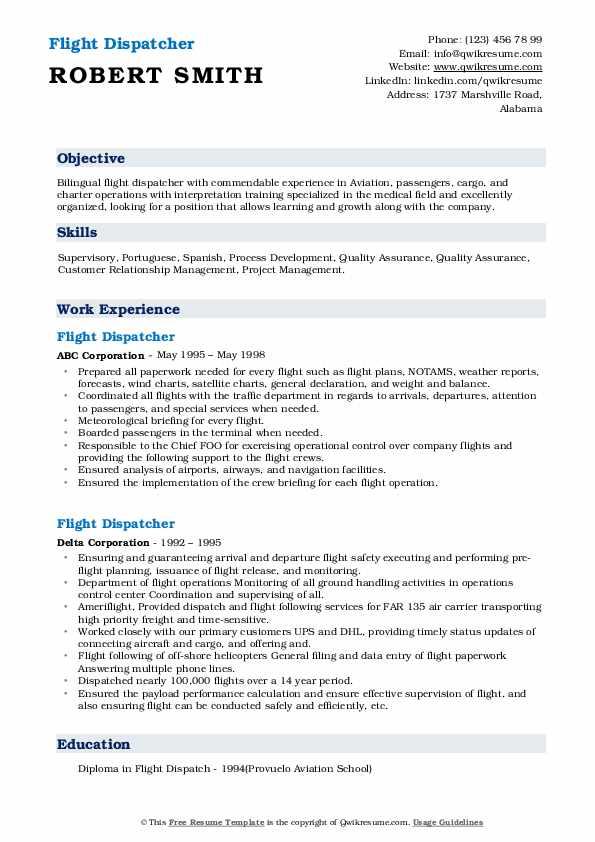 Sample resume for flight dispatcher ogs tamu thesis template