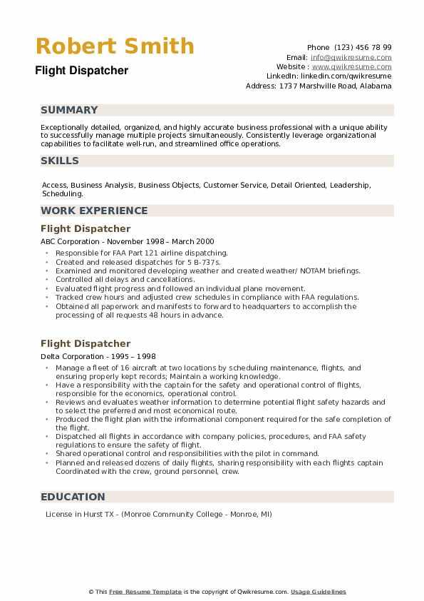 Flight Dispatcher Resume example