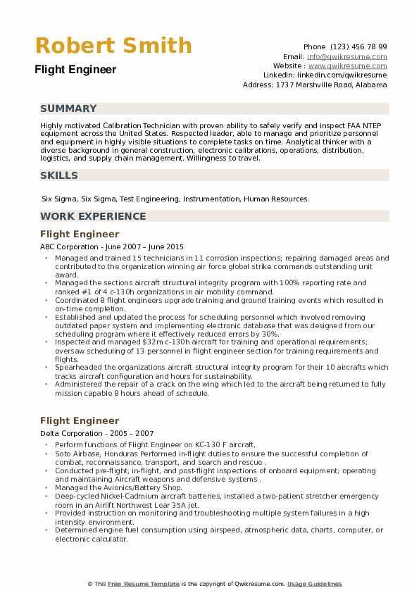 Flight Engineer Resume example