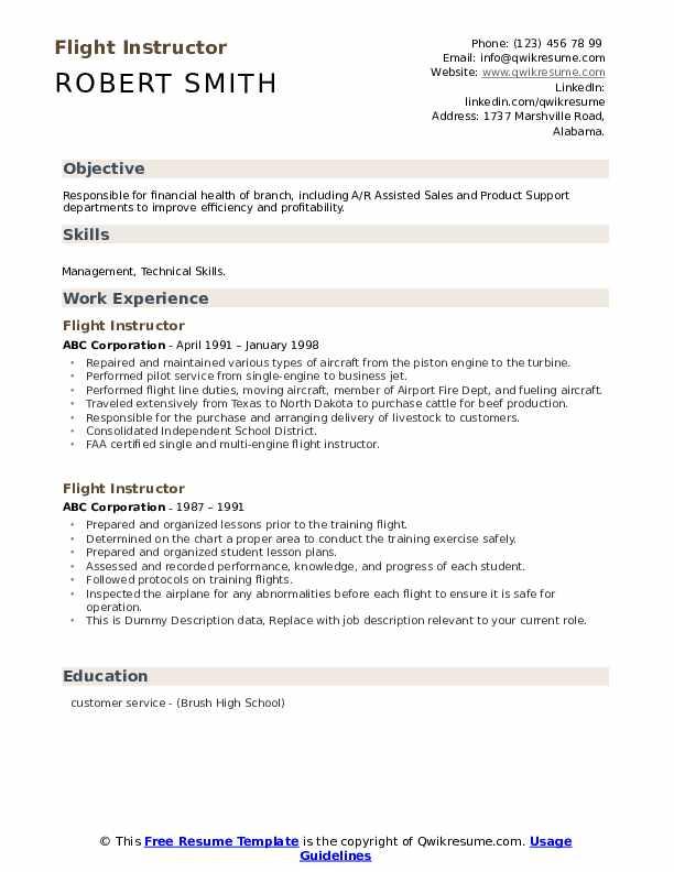 Flight Instructor Resume example