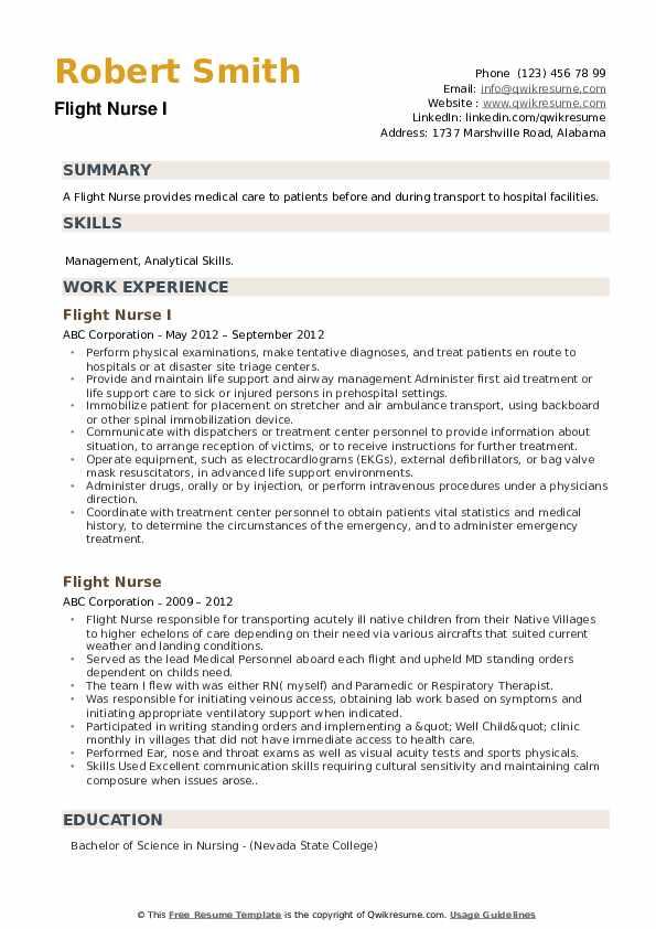 Flight Nurse Resume example