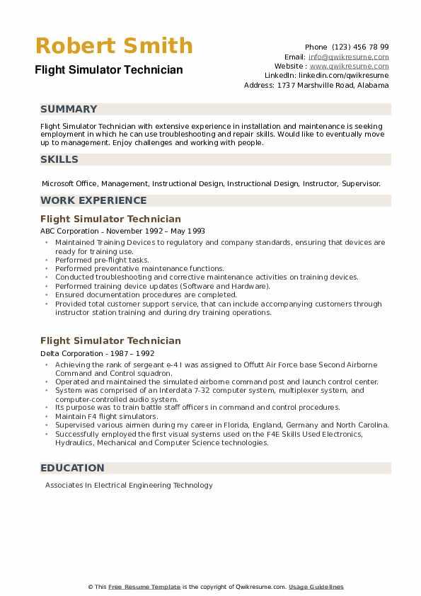 Flight Simulator Technician Resume example