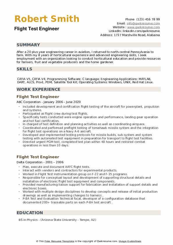 Flight Test Engineer Resume example