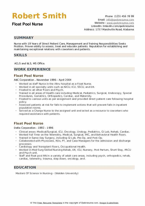 Float Pool Nurse Resume example