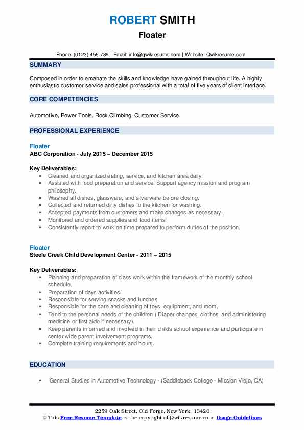 Floater Resume example