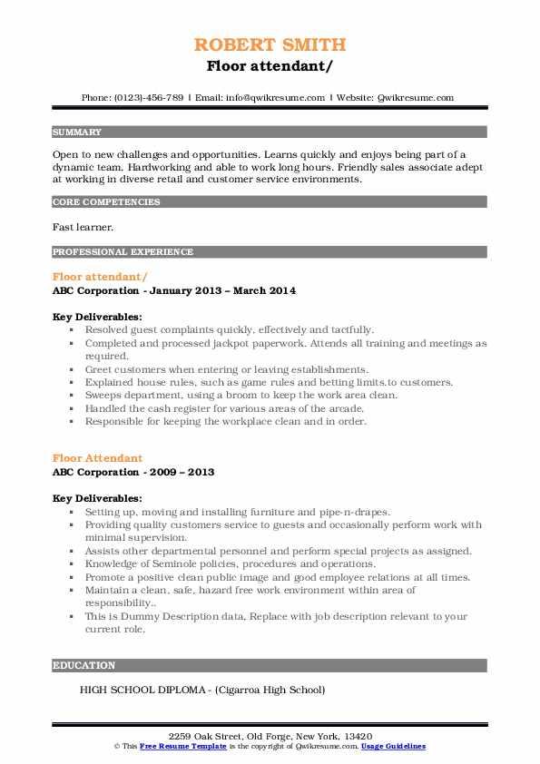 Floor Attendant Resume example
