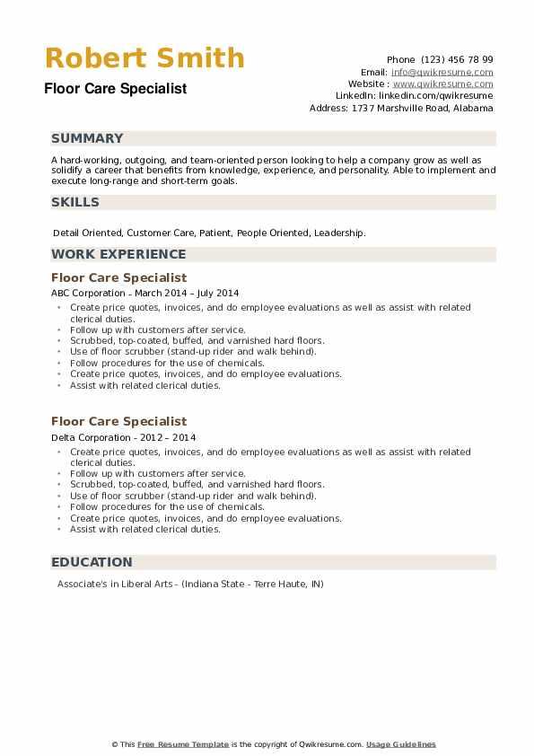 Floor Care Specialist Resume example
