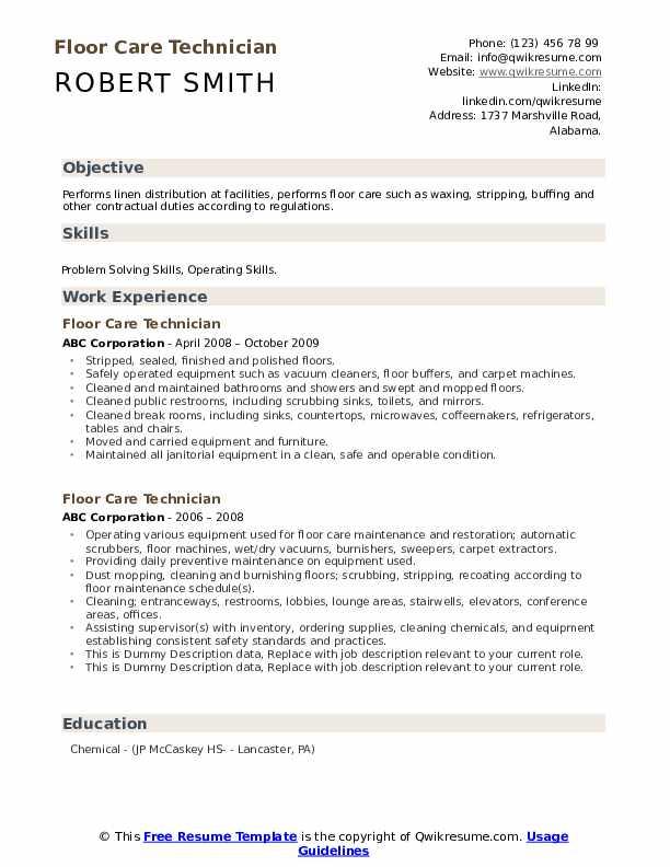 Floor Care Technician Resume example