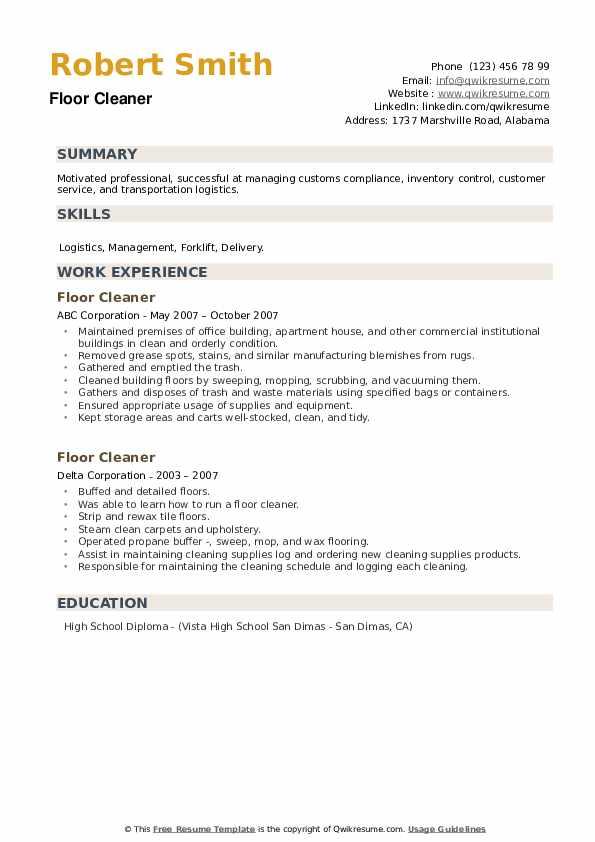 Floor Cleaner Resume example