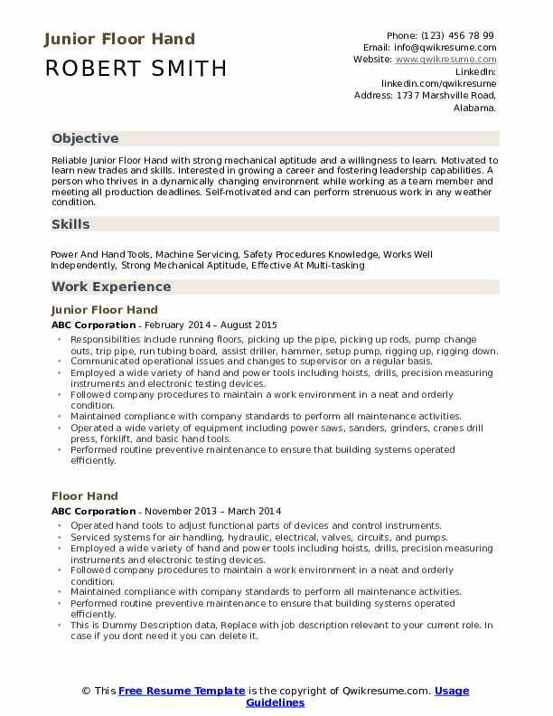 floor hand resume samples