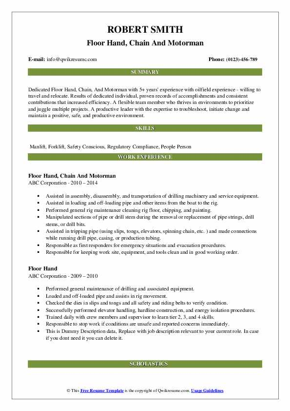 Floor Hand, Chain And Motorman Resume Sample