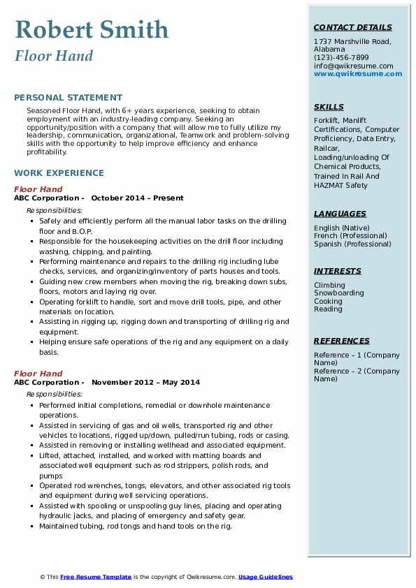 Floor Hand Resume Format