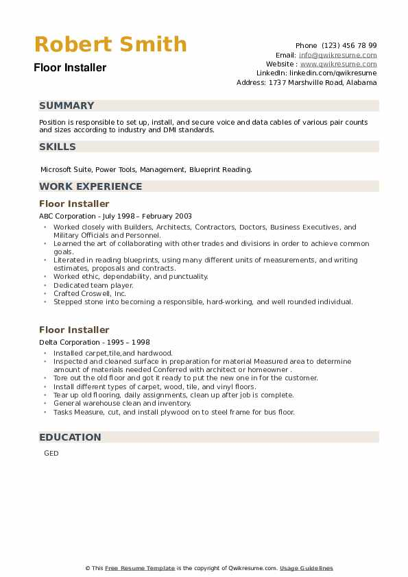 Floor Installer Resume example