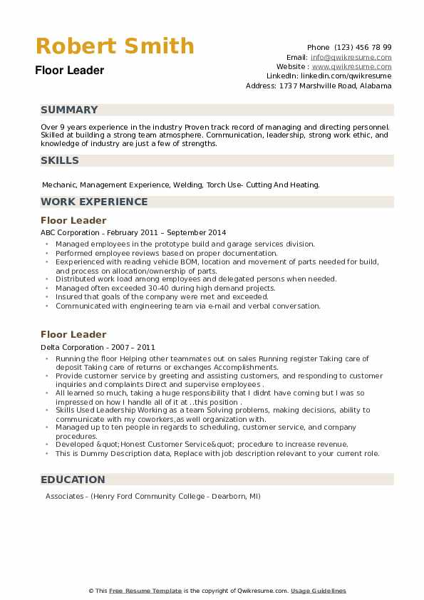 Floor Leader Resume example