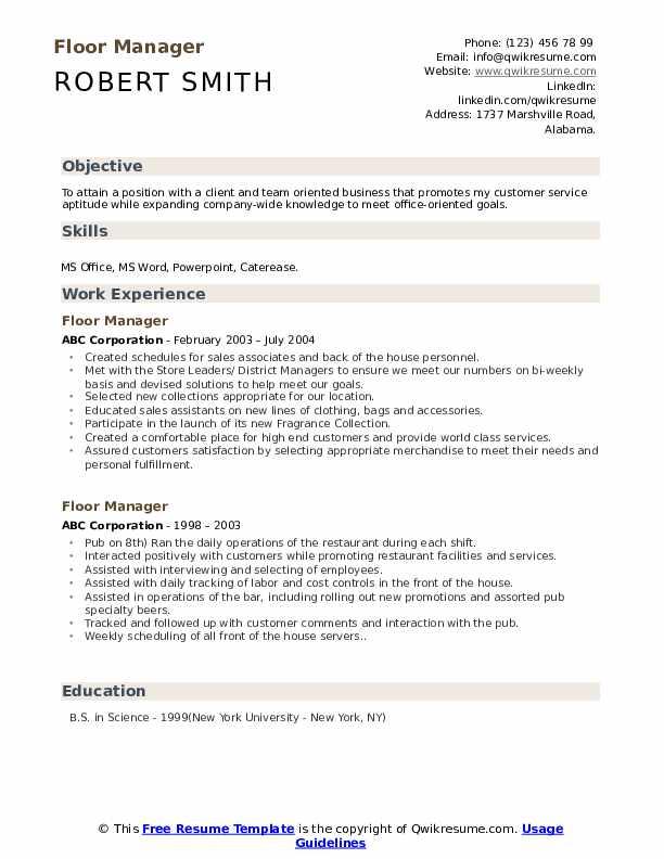 Floor Manager Resume Model