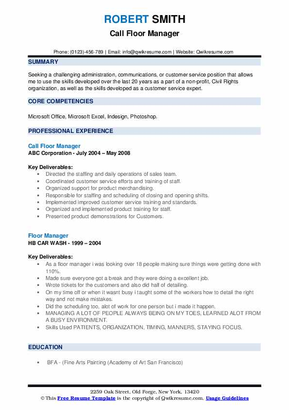 Call Floor Manager Resume Format