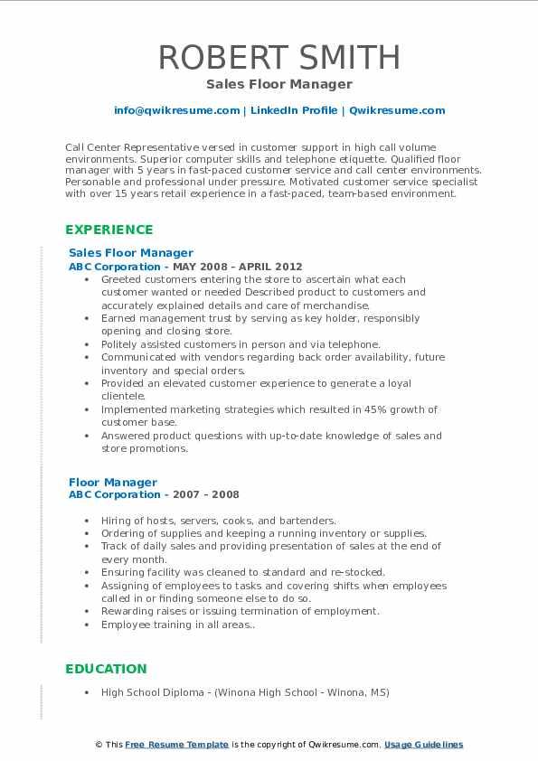 Sales Floor Manager Resume Format