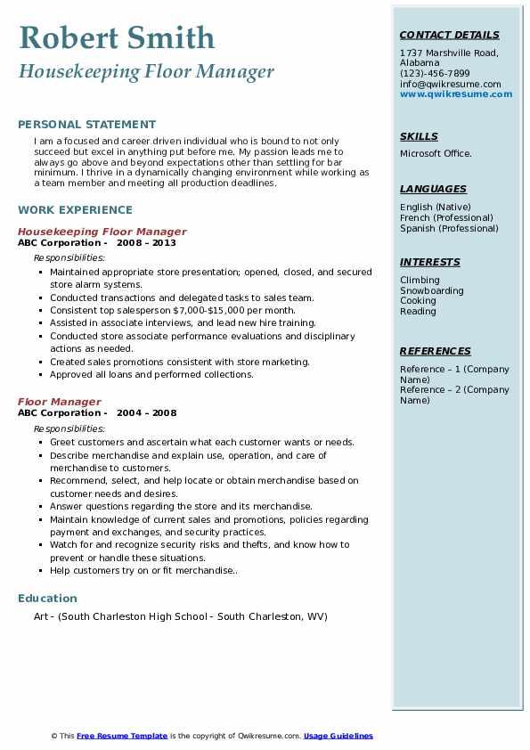 Housekeeping Floor Manager Resume Model