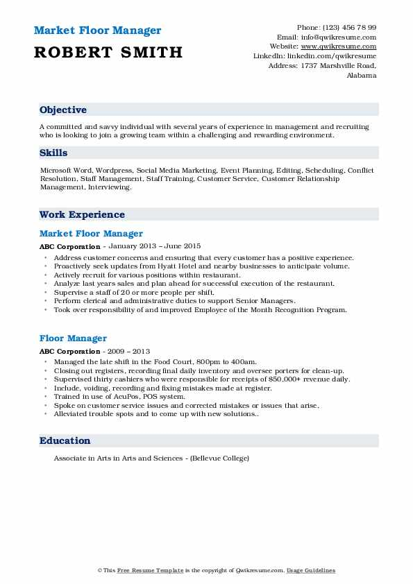 Market Floor Manager Resume Example